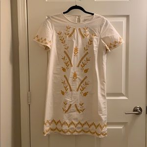 Short wide sleeve white & yellow embroidered dress